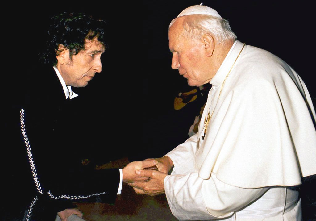 Bob Dylan con Karol Wojtyla