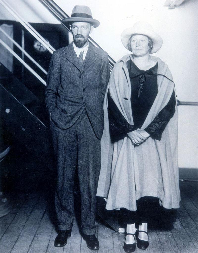 David Herbert Lawrence con la moglie Frieda