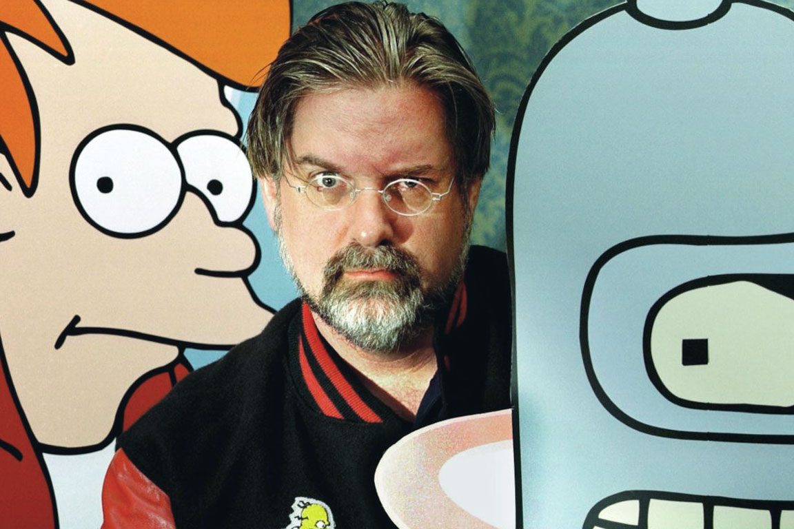 Matt Groening con i personaggi di Futurama