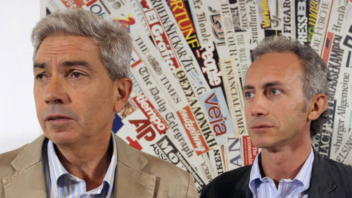 Antonio Padellaro con Marco Travaglio
