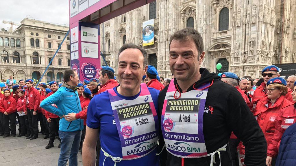 Giulio Gallera alla Stramilano 2017 con Antonio Rossi