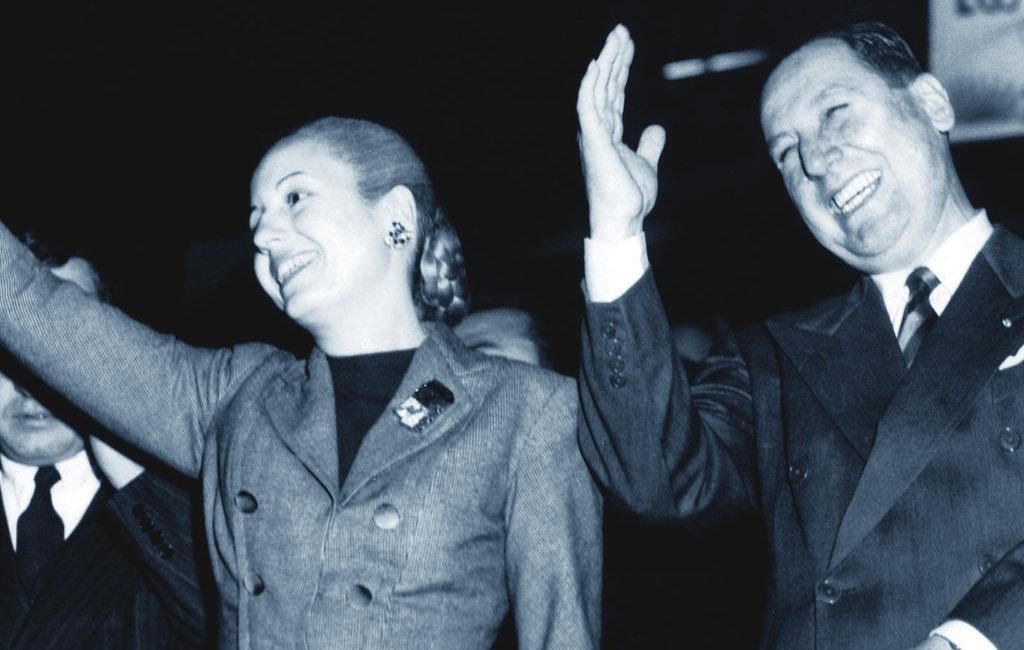 Juan Perón con Evita Duarte