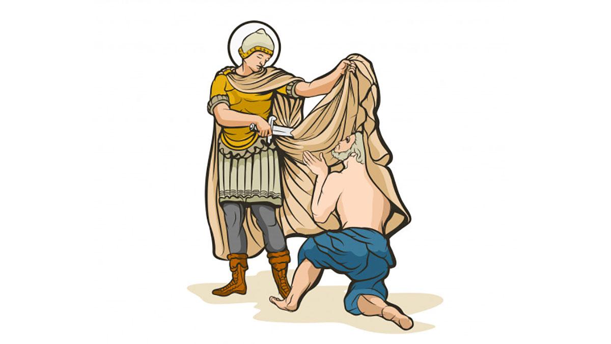 San Martino divide il suo mantello con un povero