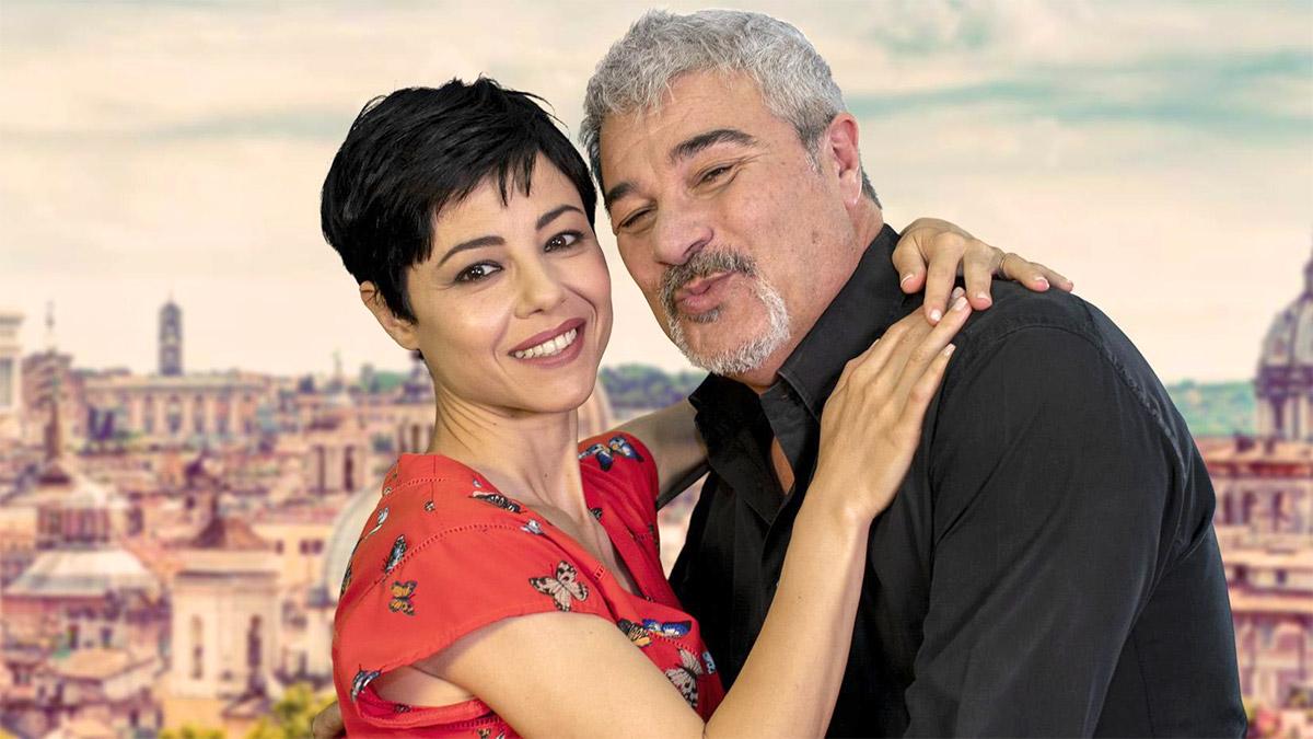 Pino Insegno con la moglie Alessia Navarro